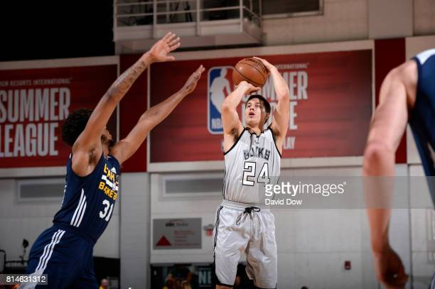 Bronson Koenig of the Milwaukee Bucks passes the ball against the Utah Jazz during the 2017 Summer League on July 14 2017 at Cox Pavillion in Las...
