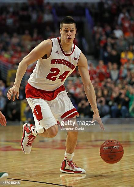 Bronson Koenig of the Wisconsin Badgers moves against the Michigan State Spartans during the Championship game of the 2015 Big Ten Men's Basketball...