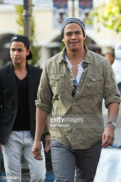 Bronson Pelletier and Chaske Spencer of the Wolfpack visit Extra at The Grove on November 15 2011 in Los Angeles California