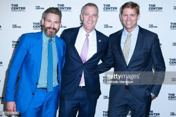 Bronson van Wyck Sean Patrick Maloney and Randy Florke attend the The LGBT Community Center Dinner at Cipriani Wall Street on April 20 2017 in New...