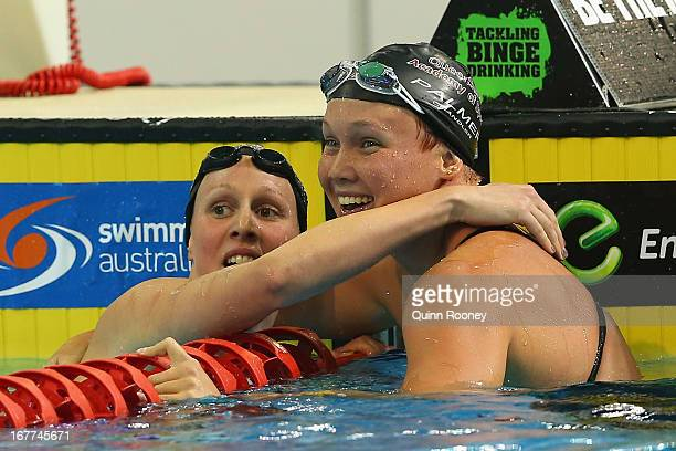 Bronte Barratt and Kylie Palmer of Australia celebrate finishing first and second in the Women's 200 Metre Freestyle Final during day four of the...