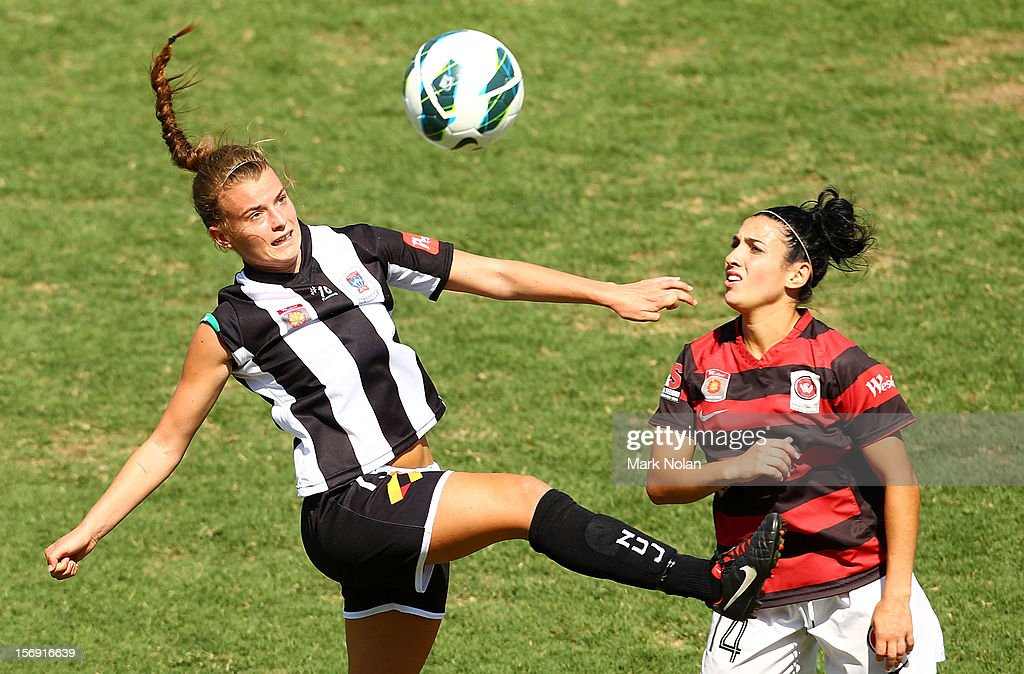 Bronte Bates of the Jets and Trudy Camilleri of the Wanderers contest possession during the round six W-League match between the Western Sydney Wanderers and the Newcastle Jets at Campbelltown Sports Stadium on November 25, 2012 in Sydney, Australia.