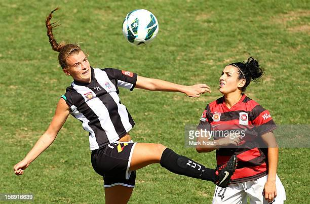 Bronte Bates of the Jets and Trudy Camilleri of the Wanderers contest possession during the round six WLeague match between the Western Sydney...