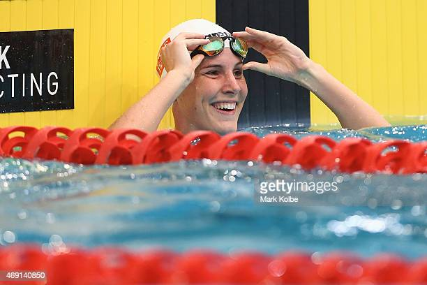 Bronte Campbell celebrates victory in the Women's 50m Freestyle Final during day eight of the Australian National Swimming Championships at Sydney...
