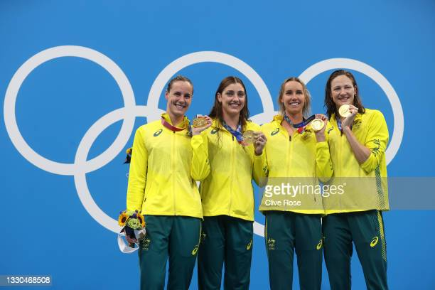 Bronte Campbell, Meg Harris, Emma Mckeon and Cate Campbell of Team Australia pose after winning the gold medal in the Women's 4 x 100m Freestyle...