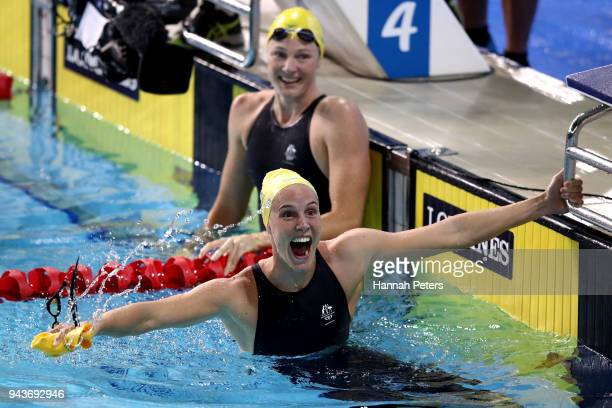 Bronte Campbell of Australia celebrates victory in the Women's 100m Freestyle Final on day five of the Gold Coast 2018 Commonwealth Games at Optus...