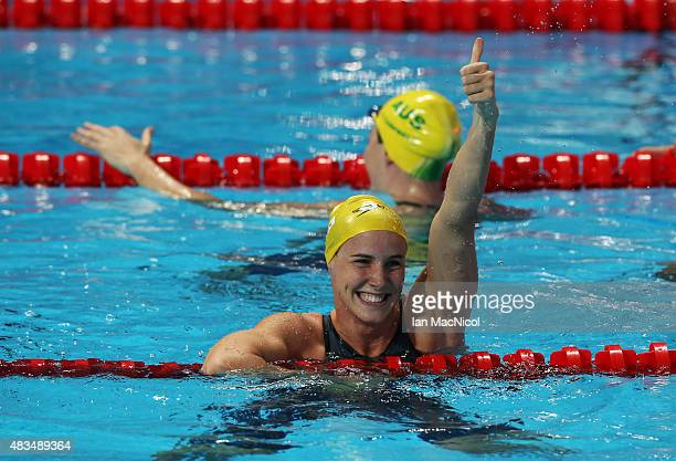Bronte Campbell of Australia celebrates winning the Women's 50m Freestyle Final during day Sixteen of The 16th FINA World Swimming Championships at...