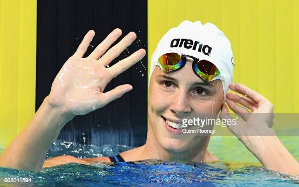 Bronte Campbell of Australia celebrates winning the Women's 50m Freestyle during the 2017 Australian Swimming Championships at the Sleeman Sports...