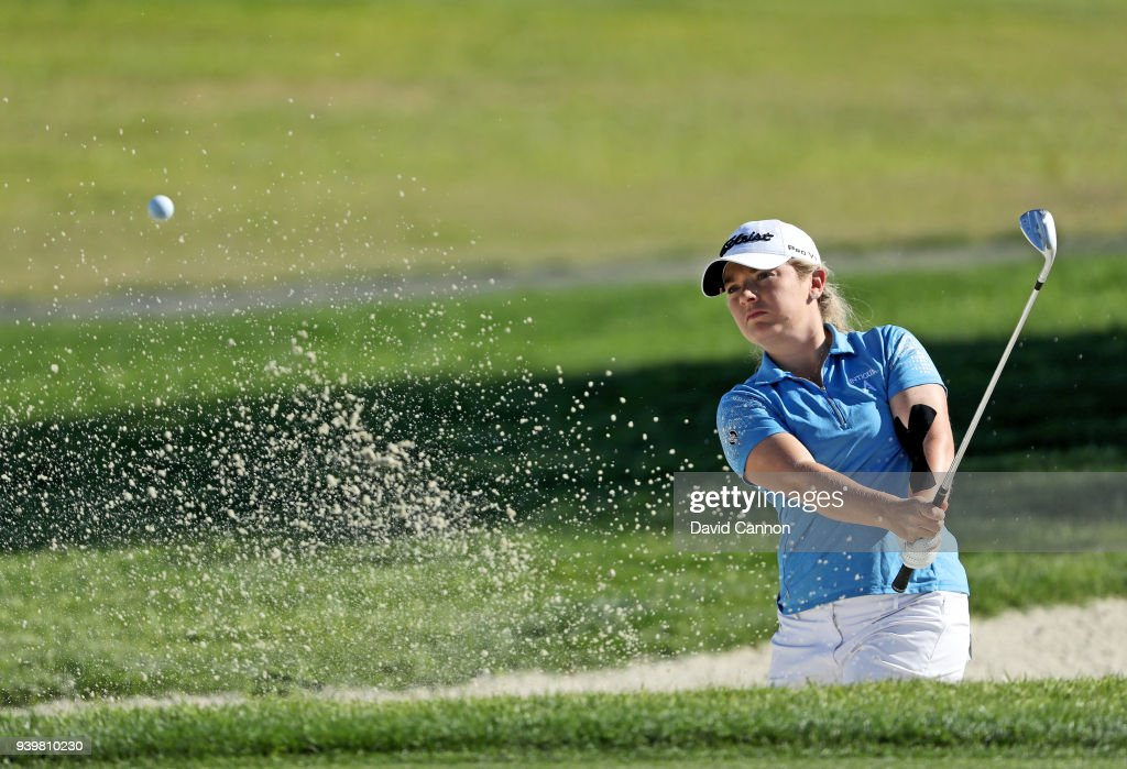 Bronte Law of England plays her third shot on the par 5, second hole during the first round of the 2018 ANA Inspiration on the Dinah Shore Tournament Course at Mission Hills Country Club on March 29, 2018 in Rancho Mirage, California.