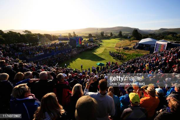 Bronte Law of Team Europe plays her shot from the first tee during Day 1 of The Solheim Cup at Gleneagles on September 13 2019 in Auchterarder...