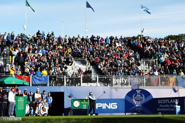 Bronte Law of Team Europe plays her shot from the first tee during Day 1 of The Solheim Cup at Gleneagles on September 13, 2019 in Auchterarder,...