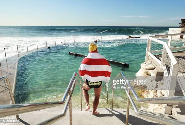 Bronte Splashers Swimming Club members prepare to race at Bronte Pool on July 23 2017 in Sydney Australia Founded in 1921 the Bronte Splashers...