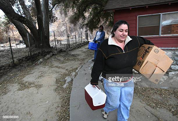 OCTOBER 12 2009––Bronwen Aker evacuates from her house for the winter in Big Tujunga Monday