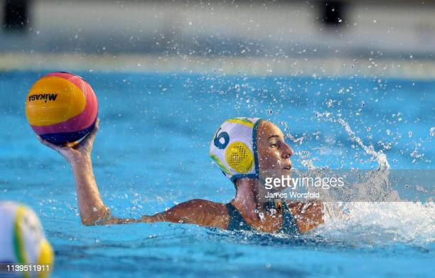 Bronwen Knox of Australia passes the ball across the pool during the 2019 FINA World League Inter-Continental Cup Woman's Gold medal match between...