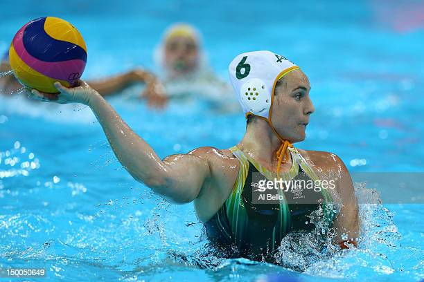 Bronwen Knox of Australia passes the ball during the Women's Water Polo Bronze Medal match between Australia and Hungary on Day 13 of the London 2012...