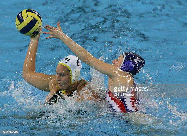 Bronwen Knox of Australia vies for the ball with Shepelina Natalia of Russia in a match between Russia and Australia's national team during the 'Good...