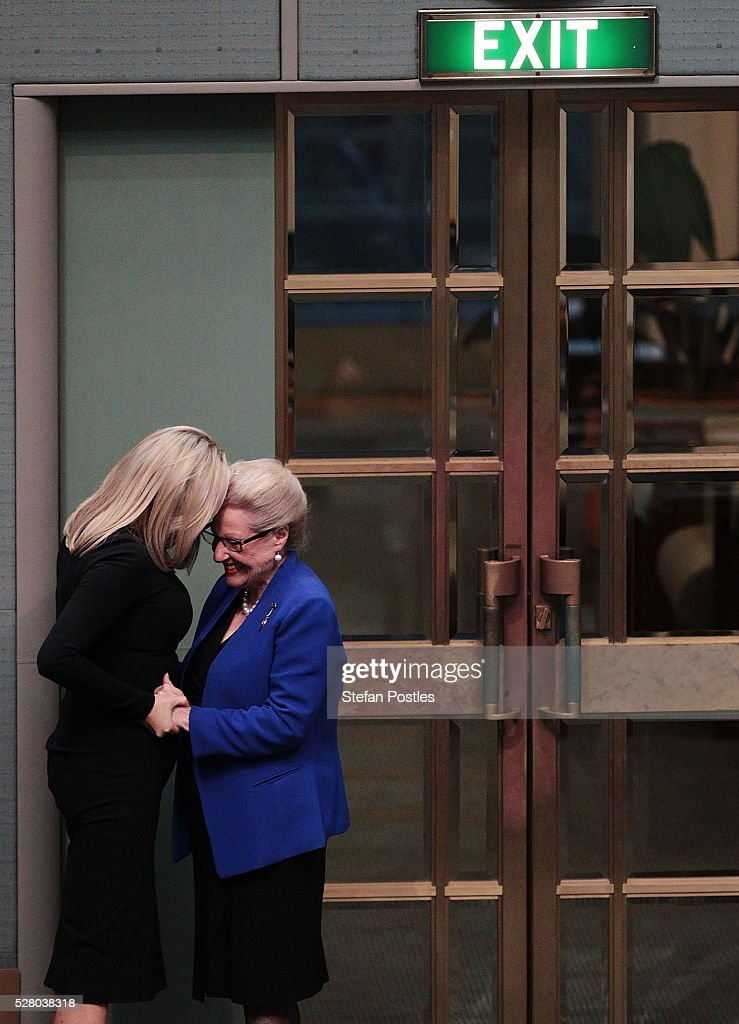 Bronwyn Bishop embraces her daughter Angela Bishop after giving her valedictory speech in the House of Representatives at Parliament House on May 4, 2016 in Canberra, Australia. The Turnbull Goverment's first budget has delivered tax cuts for small and medium businesses, income tax cuts people earning over $80,000 a year,new measures to help young Australians into jobs and cutbacks to superannuation concessions for the wealthy.