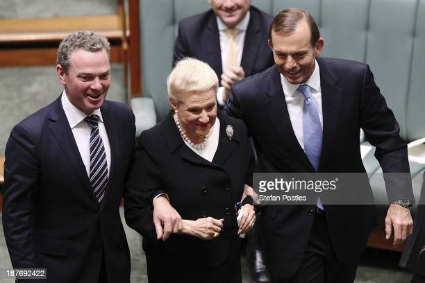 Bronwyn Bishop is taken to the speakers chair by Christopher Pyne and Prime Minister Tony Abbott after being elected speaker of the House of...
