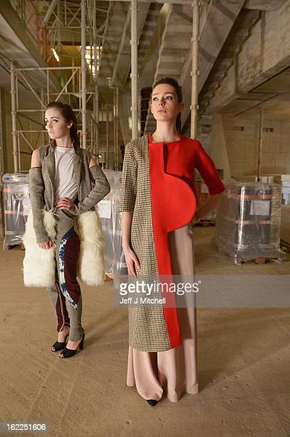 Bronwyn Mackay models an outfit from designer Tommy Jiaqi Zhong and Lynne Jeffries models an outfit from Mathew Allen inside one of the driven voids...