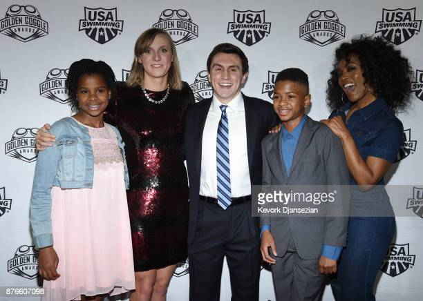 Bronwyn Vance swimmer Katie Ledecky Slater Vance and Angela Bassett attend the 2017 USA Swimming Golden Goggle Awards at JW Marriott at LA Live on...