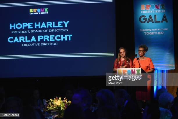 Bronx Children's Museum Founding Executive Director Carla Precht and Bronx Children's Museum President Hope Harley speak onstage during the Bronx...