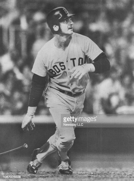 Carl Yastrzemski of the Boson Red Sox watches his hit during the top of the third inning which drove in a run at Yankee Stadium in the Bronx New York...