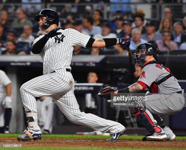 New York Yankees catcher Gary Sanchez with the double in the fifth inning in Game 4 of the ALDS against the Boston Red Sox on October 9 at Yankee...