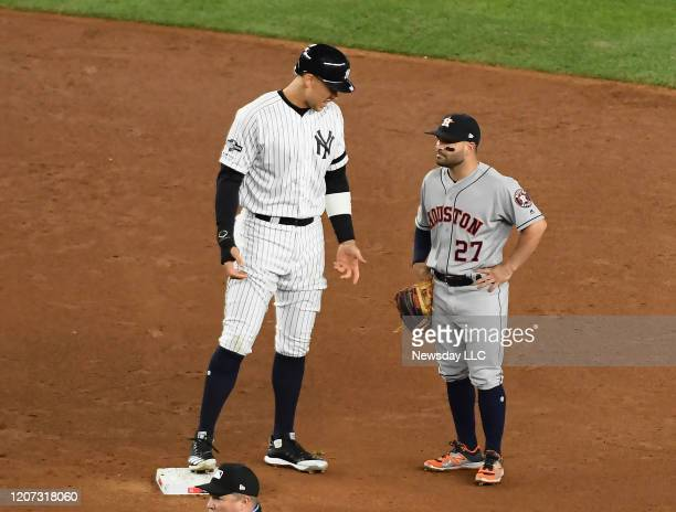 New York Yankees rightfielder Aaron Judge at 2nd base with Houston Astros second baseman Jose Altuve in the first inning in Game 4 of the ALCS on...