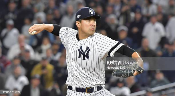 New York Yankees starting pitcher Masahiro Tanaka delivers the pitch in the first inning in Game 4 of the ALCS against the Houston Astros on October...