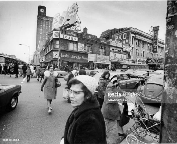 Shoppers cross Fordham Road at the Grand Concourse in the Bronx New York on March 31 1972