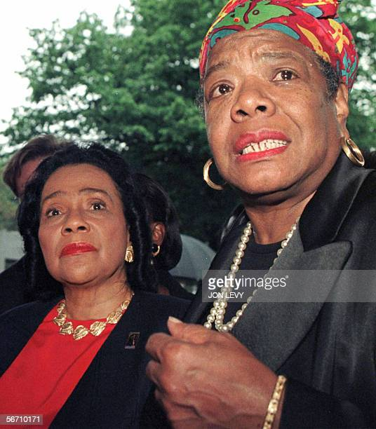 Coretta Scott King widow of slain civil rights leader Martin Luther King Jr and Maya Angelou speak to members of the media 02 June 1997 after...