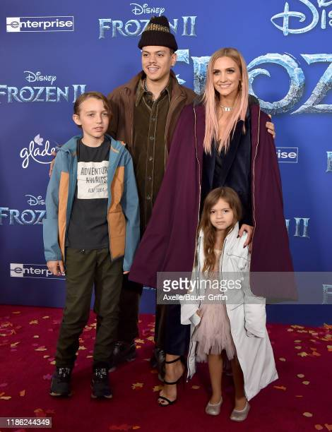 """Bronx Wentz, Evan Ross, Ashlee Simpson, and Jagger Snow Ross attend the Premiere of Disney's """"Frozen 2"""" at Dolby Theatre on November 07, 2019 in..."""