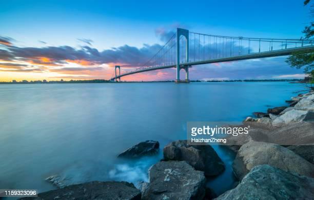 bronx whitestone bridge - bronx stock pictures, royalty-free photos & images