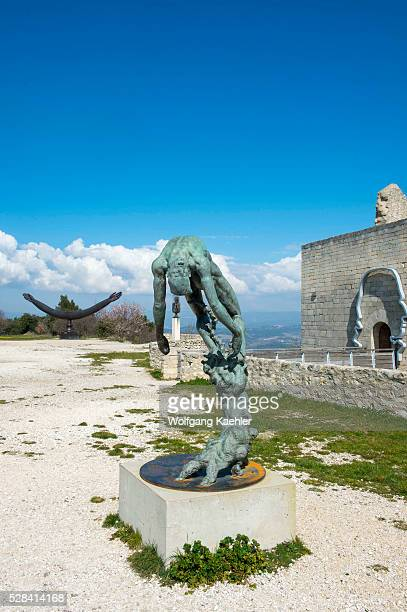 Bronze artwork at the Chateau de Lacoste above the hillside village of Lacoste in the Luberon in the ProvenceAlpesC��te d'Azur region in southeastern...