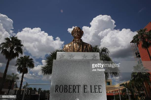 Bronze bust of Confederate general Robert E. Lee is seen in the median on Monroe street in the midst of a national controversy over whether...
