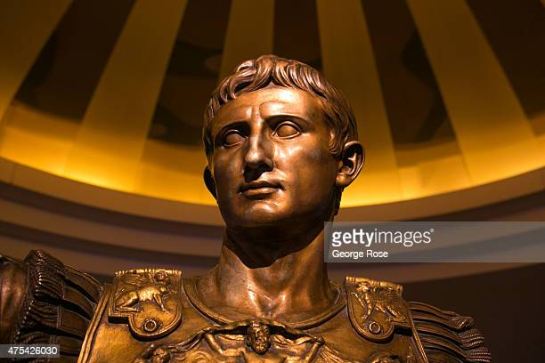 A bronze bust of Julius Caesar is displayed in the lobby at Caesars Palace on May 19 2015 in Las Vegas Nevada Tourism in America's Sin City has...