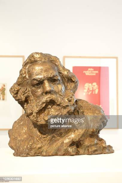 A bronze bust of Karl Marx by Anna Golubkina is on display at the exhibition 'Icon Karl Marx Cult pictures and the cult around pictures' at municipal...