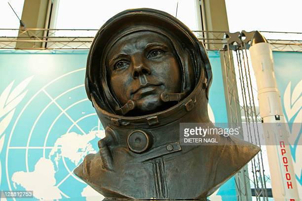 """A bronze bust of Soviet cosmonaut Yuri Gagarin is displayed at an exhibition """"50 Years of Human Spaceflight"""" at United Nations headquaters on October..."""