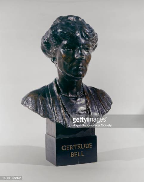 Bronze bust on plinth of Gertrude Bell This bust was presented to the Royal Geographical Society 'by a number of ladies as a tribute to a very...