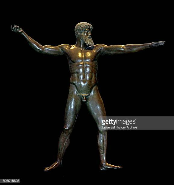 Bronze cast of a statue of the Greek god Zeus made from the original statue at the National Archaeological Museum Athens It was discovered in 1928 in...