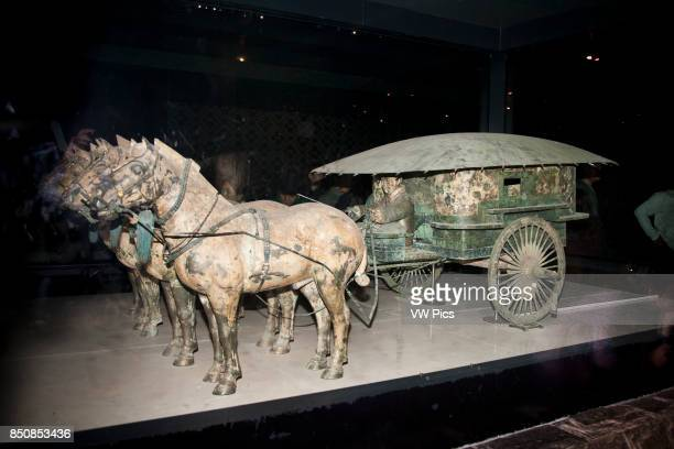 Bronze chariot and horses in bronze chariots museum at the site of the terracotta army Xi'an Shaanxi Province China