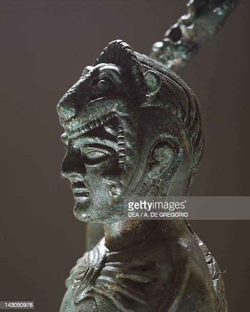 Bronze depicting Hercules in battle detail of the head from the Sanctuary of Villa Cassarini Etruscan Civilization ca 400 BC Bologna Museo Civico...