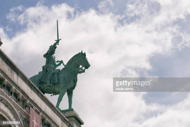 bronze equestrian statue of joan of arc - st. joan of arc stock photos and pictures