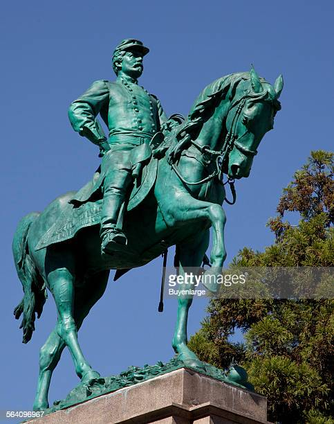 Bronze equestrian statue of Major General George Brinton McClellan located in the triangular traffic island formed by the intersection of Connecticut...