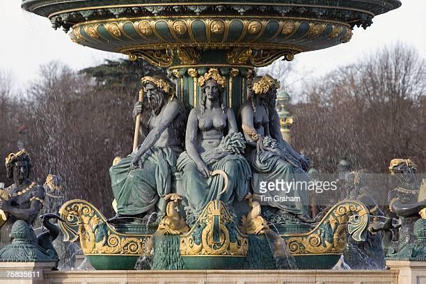 Bronze fountain in Place de la Concorde Paris France