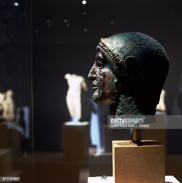 Bronze head 480 BC discovered in 2003 during construction of the Athens metro Greece Greek civilisation 5th century BC Athens Moussío Kikladikís...