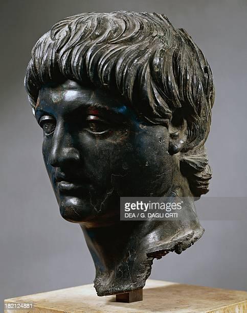 Bronze head of Emperor Nero artefact uncovered in Cilicia Turkey Roman Civilisation 1st century Paris Musée Du Louvre