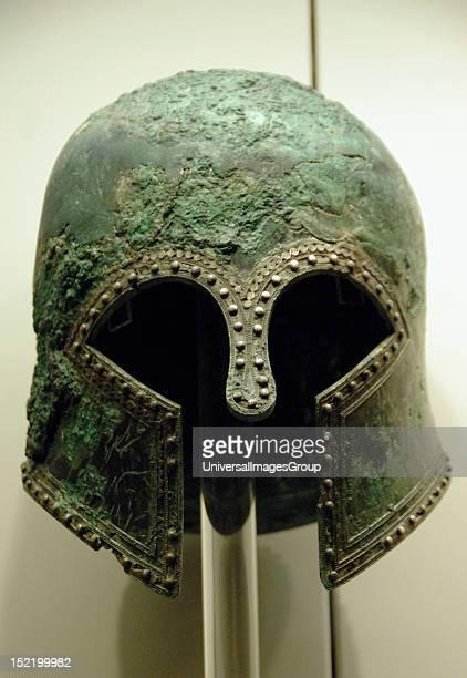 Bronze helmet of Corinthian style 6th century bc Olympia Archaeological Museum Ilia Province Peloponnese region Greece