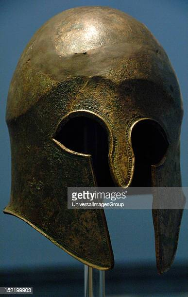Bronze helmet of Corinthian type 5th century bC Votive offering in the Sanctuary of Zeus by Hieron tyrant of Syracuse and his supporters after...