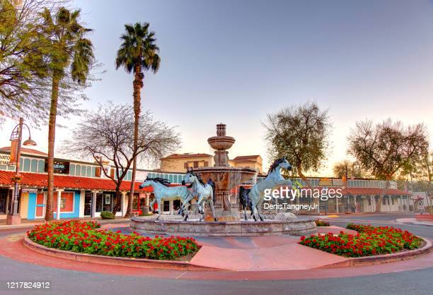bronze horse fountain in scottsdale - scottsdale arizona stock pictures, royalty-free photos & images